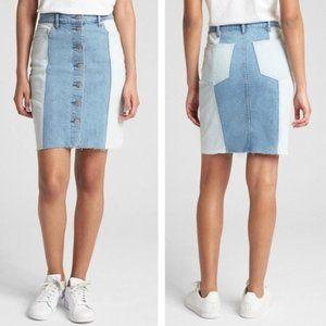GAP Two Tone Color Block Frayed Denim Skirt